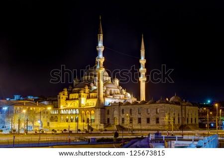 Yeni Cami by night, Istanbul, Turkey - stock photo