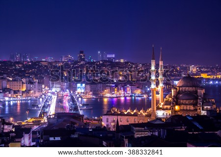 Yeni Cami Mosque The New Mosque and Galata Bridge at night in Istanbul, Turkey