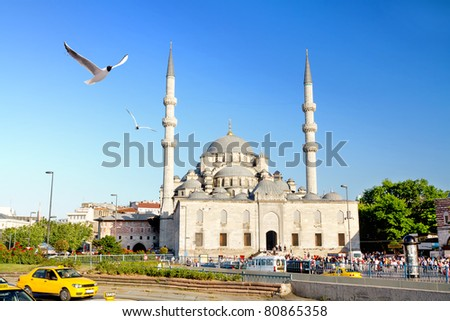 Yeni Mosque, Eminonu Square, Istanbul - stock photo