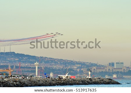 YENIKAP I- ISTANBUL, TURKEY - May 29 2016; The Turkish Stars (Turkish: Turk Yildizlari) are the aerobatic demonstration team of the Turkish Air Force and the national aerobatics team of Turkey.