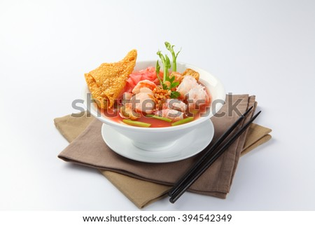 Yentafo noodle soup on white background - stock photo