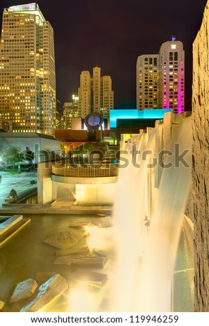 Yerba Buena Garden at night in San Francisco, California