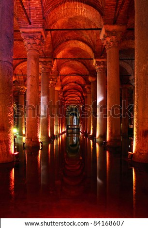 Yerebatan - Underground basilica cistern. Byzantine water reservoir build by Emperor Justinianus - Turkey, Istanbul - stock photo