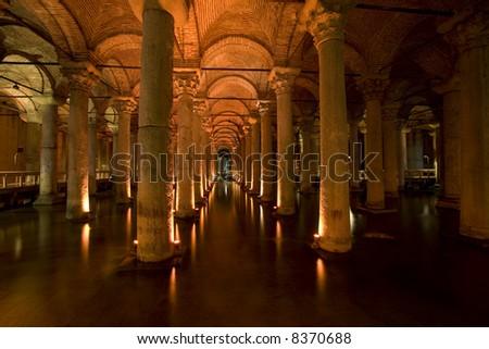 Yerebatan underground water cistern (Istanbul) - stock photo