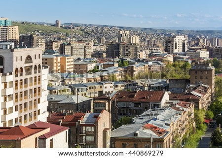YEREVAN, ARMENIA - APRIL 18, 2016:  A view of Yerevan from Cascade complex.