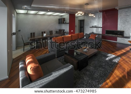 Yerevan, Armenia - February 03, 2013: A modern apartment living room. Luxury apartment with stylish modern interior design