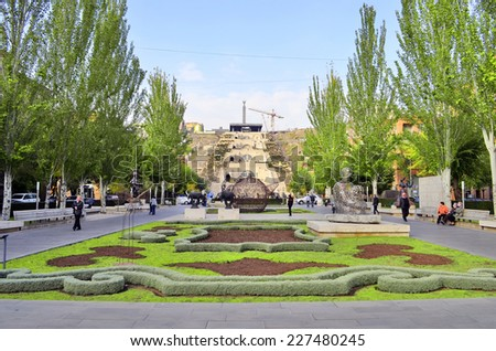 YEREVAN, ARMENIA - October 27, 2014: Modern art statue near the Yerevan Cascade, a giant stairway in Yerevan, Armenia. One of the most important sights in Yerevan completed in 1980