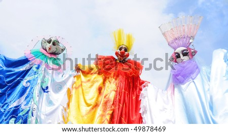 YEREVAN - MARCH 28: Clowns march at the park festival dedicated to the 75 anniversary of birth of famous Armenian clown Leonid Yengibaryan March 28, 2010 in Yerevan, Armenia. - stock photo