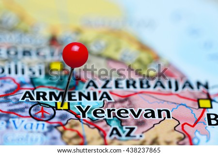 Yerevan pinned on a map of Armenia  - stock photo