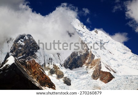 Yerupaja (6635m) in Cordiliera Huayhuash, Peru, South America - stock photo