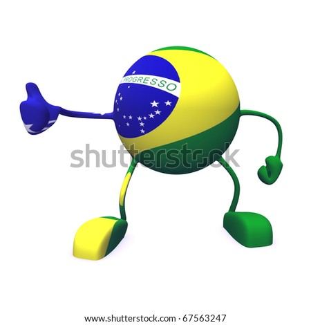 yes and  brazil flag on character on white background - stock photo