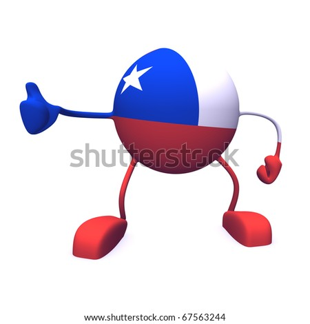 yes and  chile flag on character on white background - stock photo