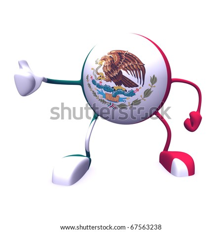 yes and   mexico flag on character on white background - stock photo
