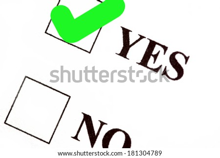Yes and no boxes, yes voted. - stock photo