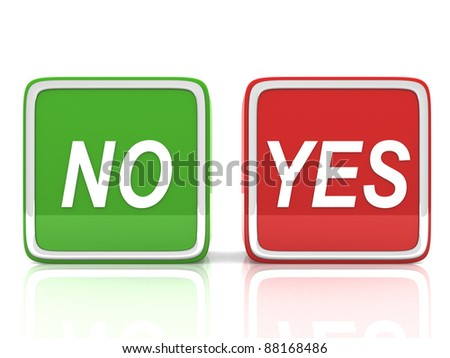yes and no button - 3d render - stock photo