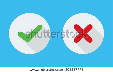 Yes and No check marks on circles. - stock photo