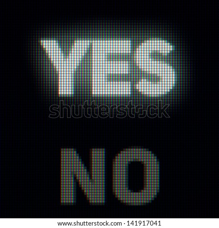 Yes and no on the computer screen close up. Confirm and rejection concept - stock photo
