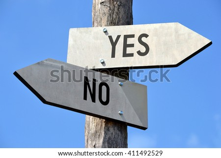 Yes and no signpost - stock photo