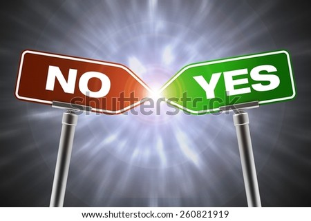 Yes and No Signs Collision. Decision Concept Illustration.