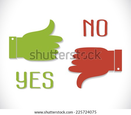 Yes and No. Thumb up and down icons. Green thumb up icon and red  thumb down with shadow - stock photo