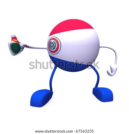 yes and  paraguay flag on character on white background - stock photo