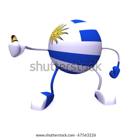 yes and  uruguay flag on character on white background - stock photo