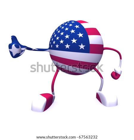 yes and  usa flag on character on white background - stock photo