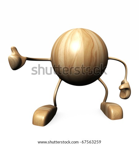 yes and  wood character on white background - stock photo
