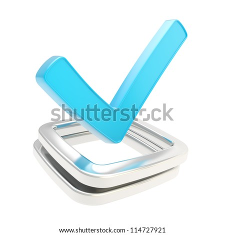 Yes blue check tick glossy emblem icon over chrome metal checkbox isolated on white background - stock photo