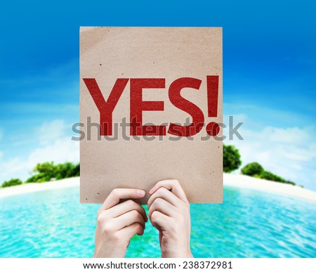 Yes! card with a beach background - stock photo
