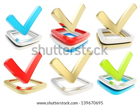 Yes check tick glossy emblem icon over checkbox pile isolated on white background, set of six - stock photo