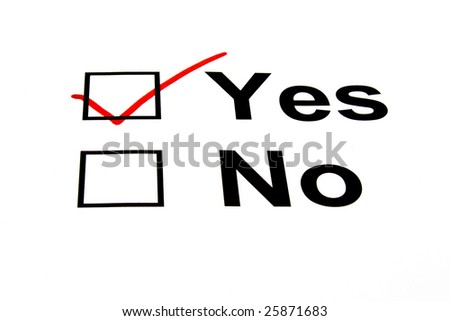 YES checkbox selected with red marker isolated on white