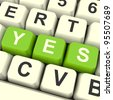 Yes Computer Keys In Green Showing Approval And Support - stock photo