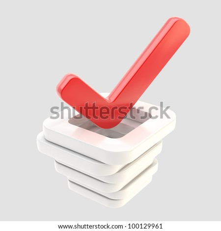 Yes done red tick over stack of glossy check boxes isolated on white - stock photo