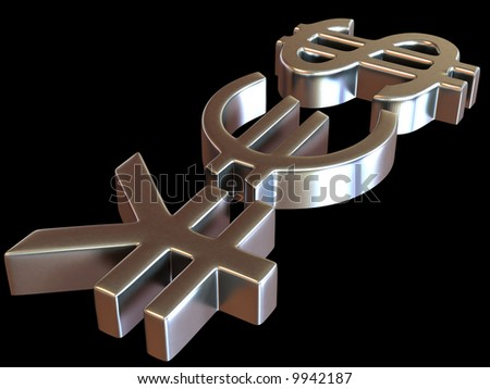 YES from signs yen, dollar and euro. 3d - stock photo