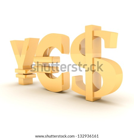 YES from signs yen, dollar and euro. on a white background.