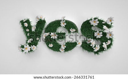 YES letters. Spring, flowers and grass. Path included