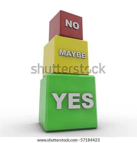 yes, no and maybe cubes ready for desaturation - stock photo