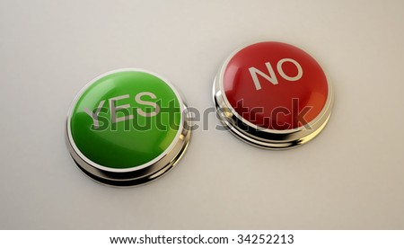 yes no button - 3d rendered image - stock photo
