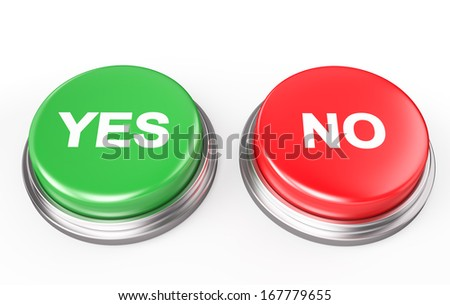 Yes No Button , Isolated on white  - stock photo