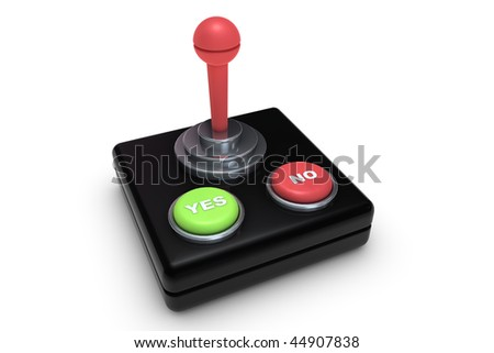 Yes No button with on old retro joystick - stock photo