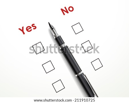 yes no check box with a pen over white paper - stock photo