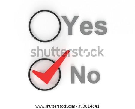 Yes No check circles, 3d illustration - stock photo