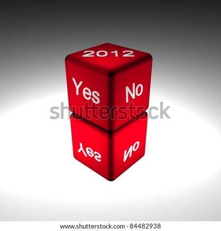 yes no dice 2012 - stock photo