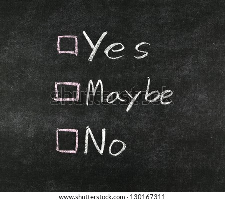 yes, no,maybe and check boxes drawing with white chalk on ...