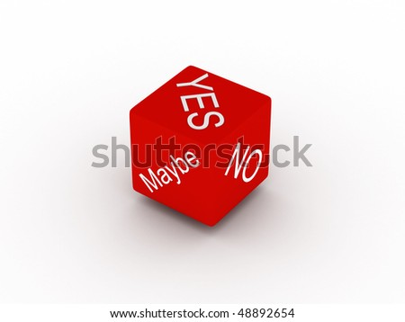 Yes, no, maybe. Red dice isolated on white background. High quality 3d render. - stock photo