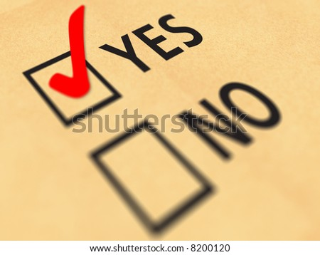 Yes No tick-box with paper background - stock photo