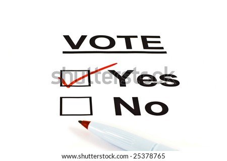 Yes / No Vote Ballot Form With YES Checked Isolated On White - stock photo