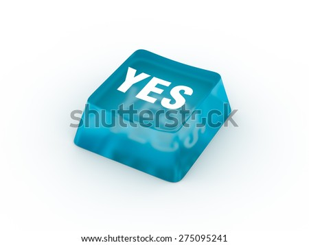 YES on keyboard button. - stock photo