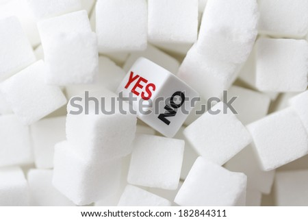 Yes or No Dice with sugar - stock photo